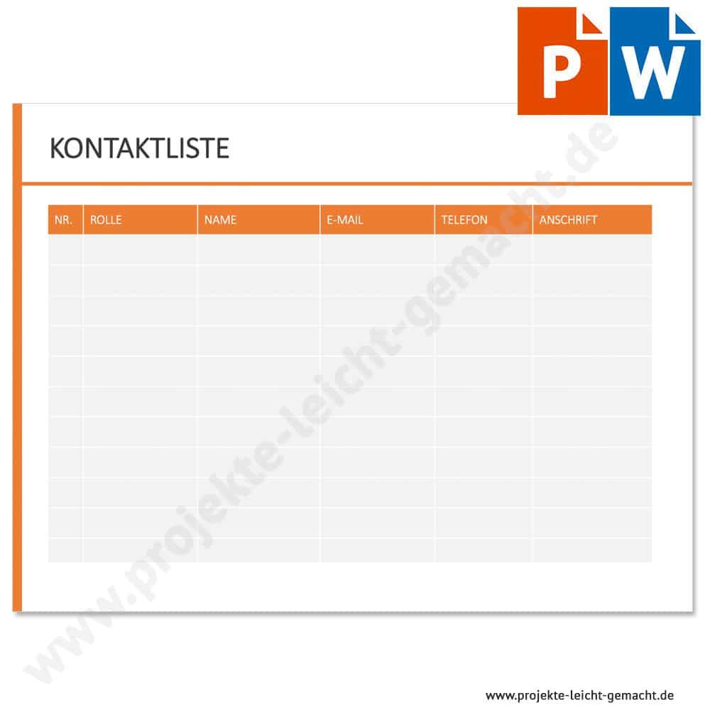 Vorlage Kontaktliste Projekte Leicht Gemacht