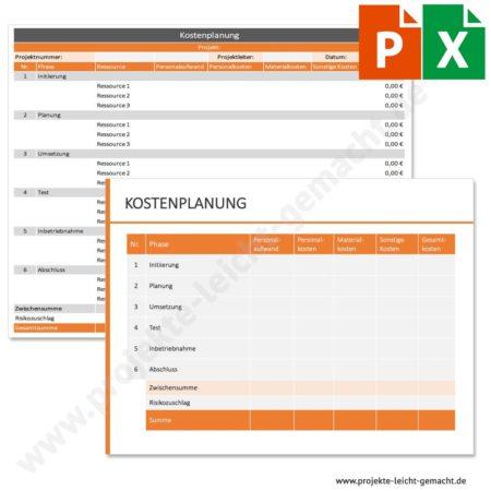 Vorlage Kostenplanung nach Phasen