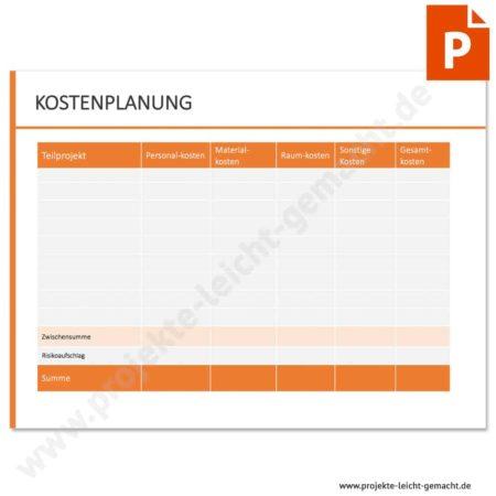 Vorlage Kostenplanung nach Teilprojekten
