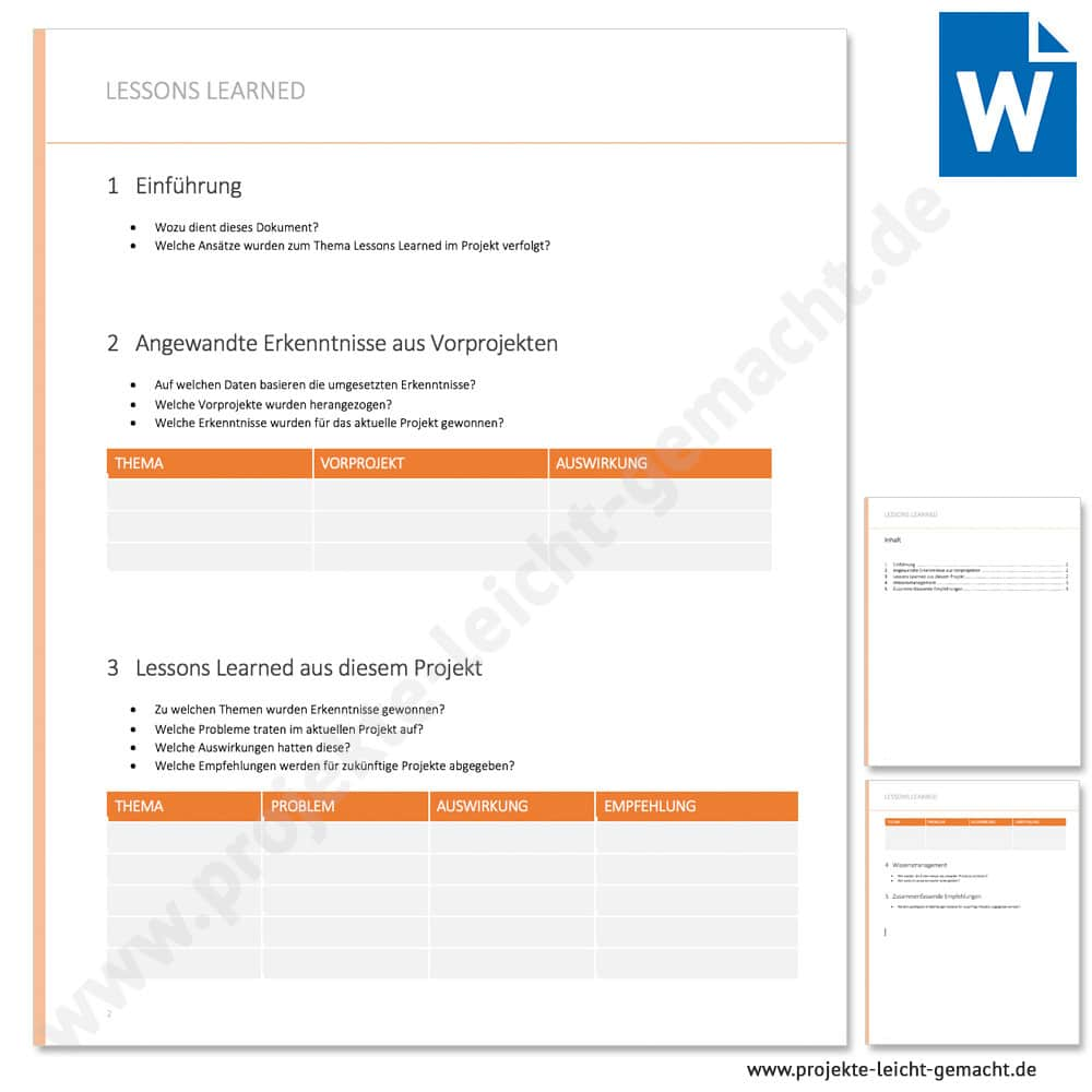 Template Project Lessons Learned Template 5