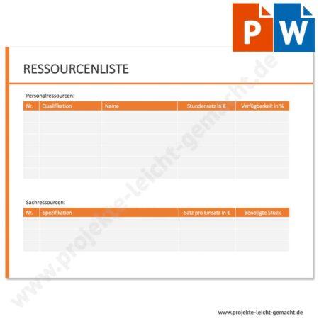 Vorlage Ressourcenliste