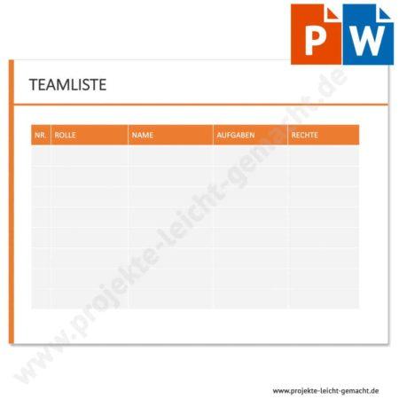 Vorlage Teamliste
